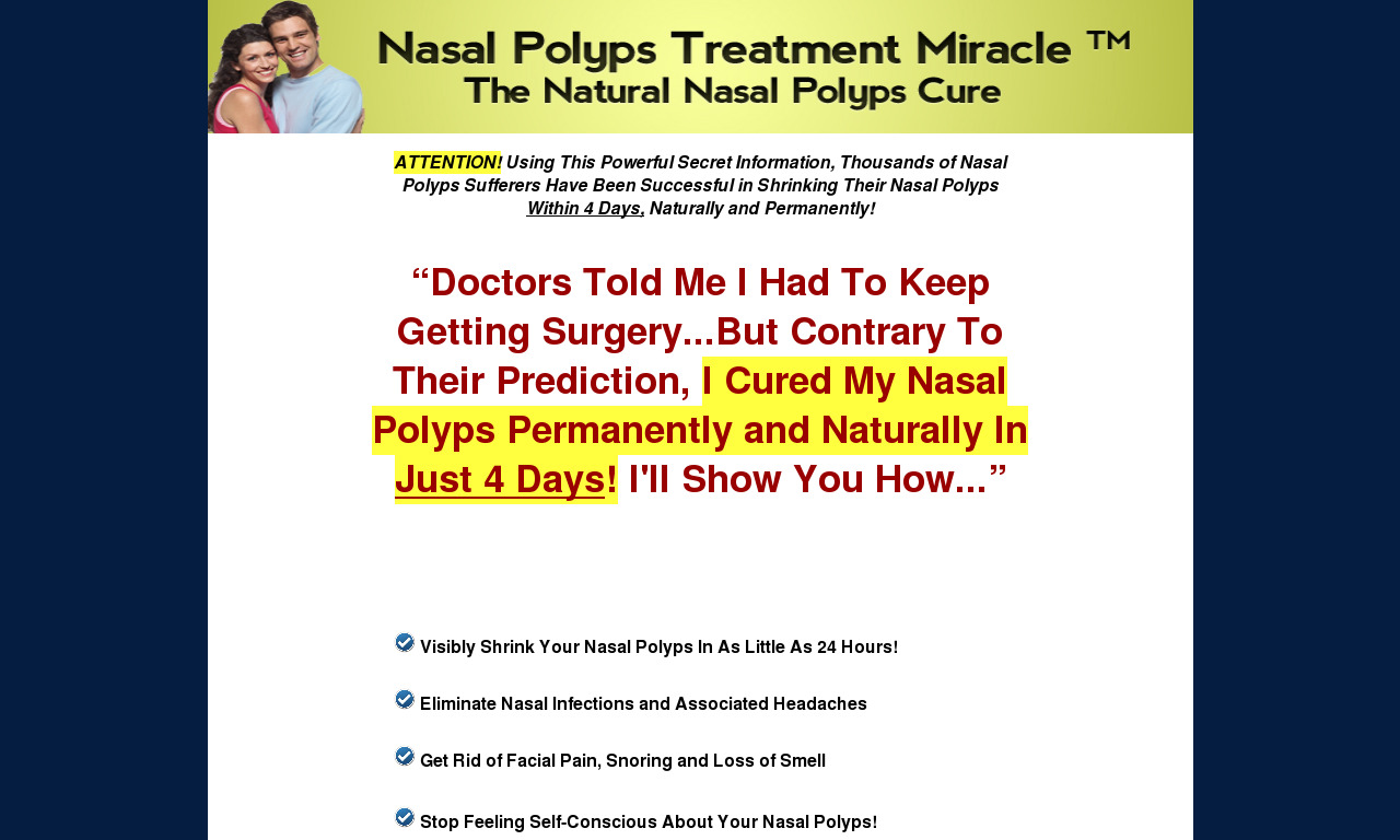 Nasal Polyps Treatment Miracle (tm) SPECIAL DISCOUNT