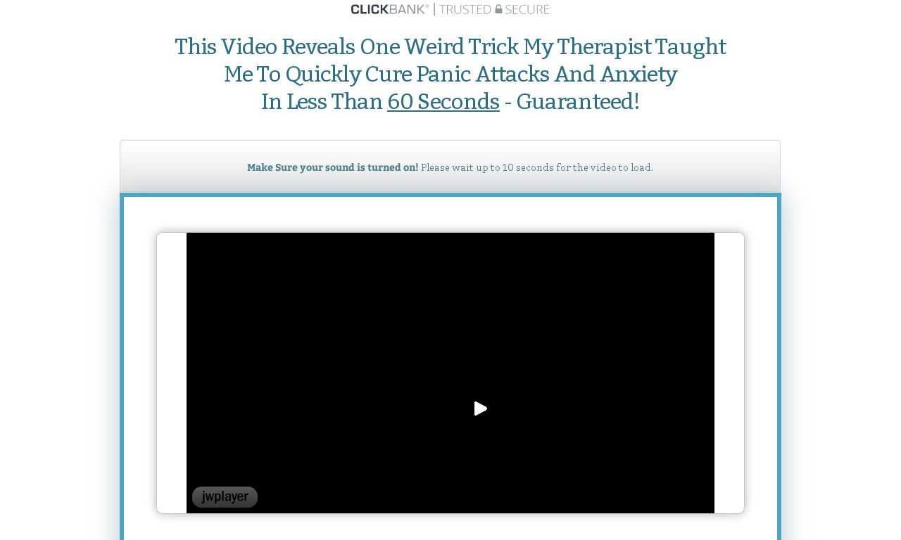 60 Second Panic Solution 7 Day Risk Free Trial For $1