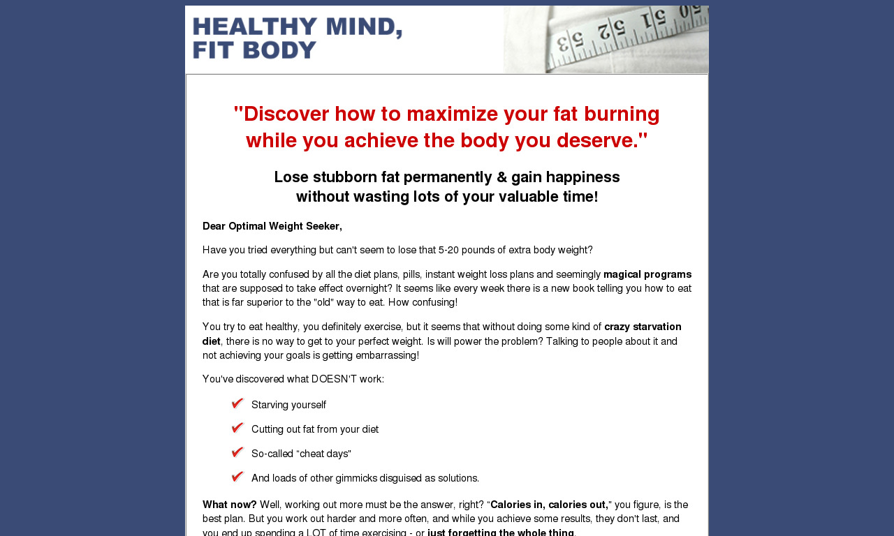 Healthy Mind Fit Body System