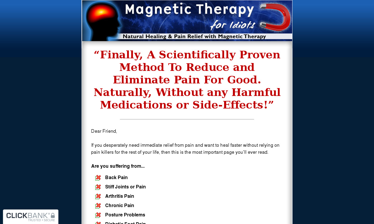 Magnetic Therapy For Idiots