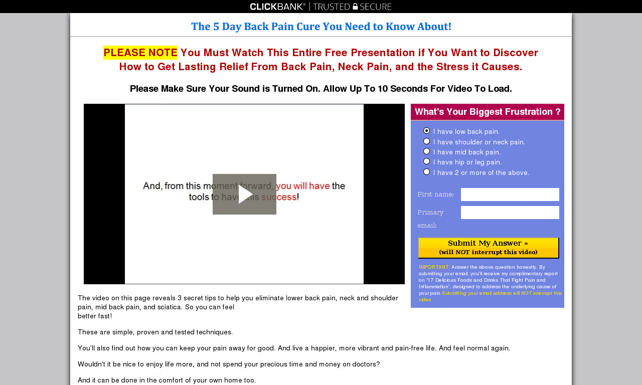 The 5 Day Back Pain Cure You Need to Know About! Audio Book