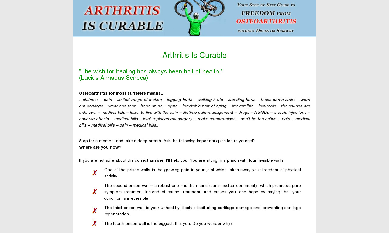 The a href='/external_link/243374'Arthritis Is Curable/a Homepage