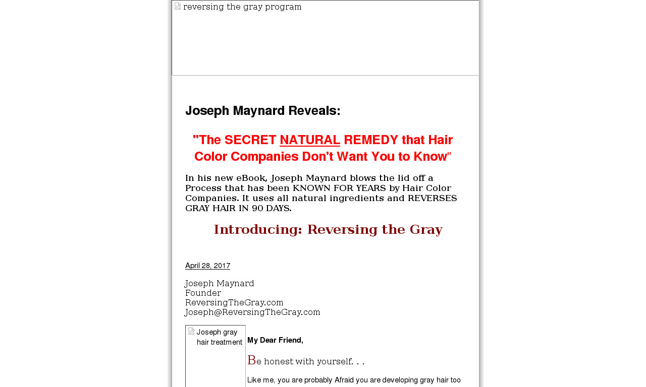 Natural Remedy To Reverse Gray Hair - Massive Conversion Rate!! product box