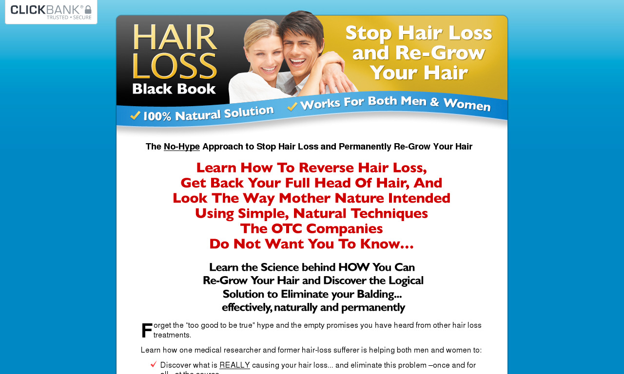 Hair Loss Black Book + Bonuses (Over 87% Off While On This Page)