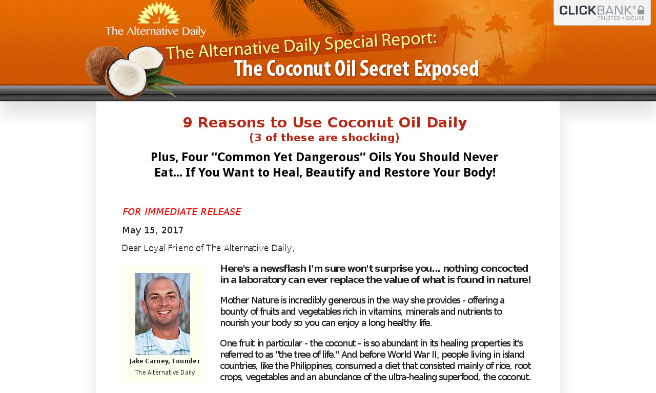 The a href='/external_link/325085'Coconut Oil Secret /aHomepage