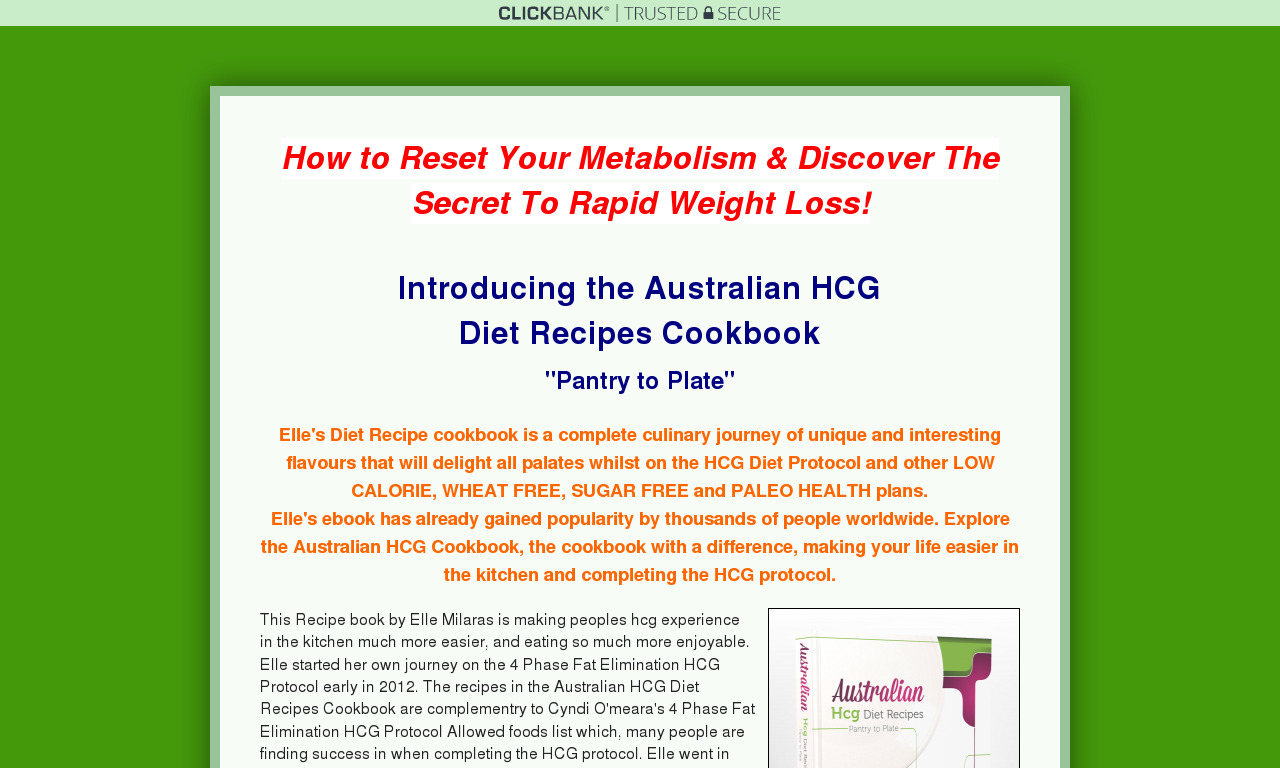 Australian Hcg Diet Recipe Cookbook