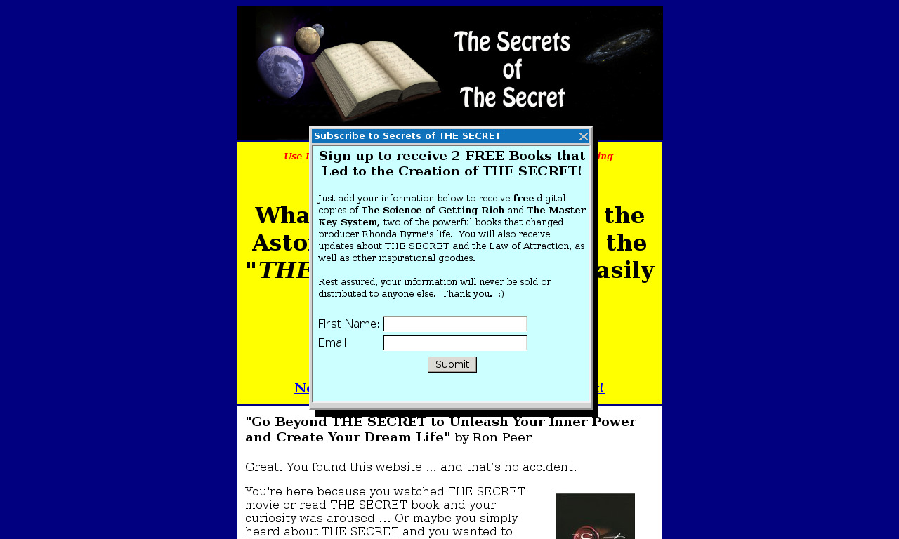 The a href='/external_link/571649'Secrets Of The Secret./a Homepage