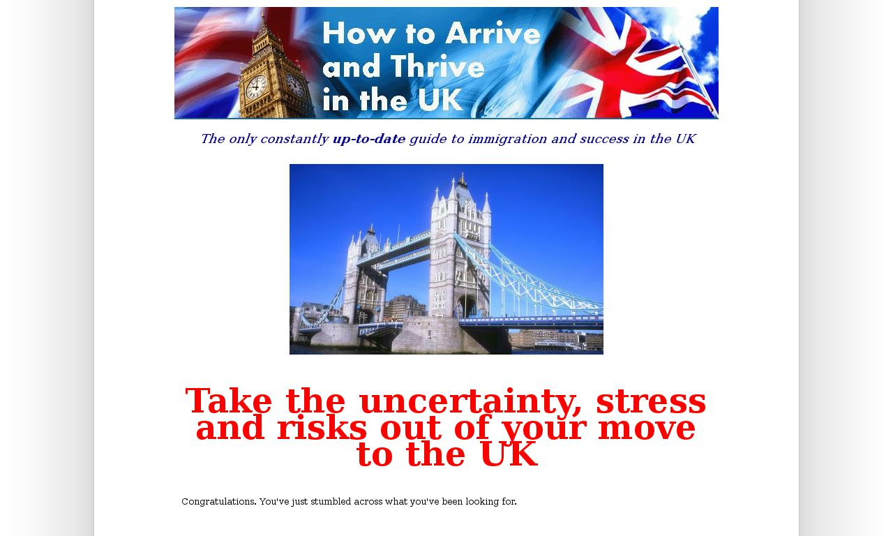 The How to arrive and thrive in the UK Homepage