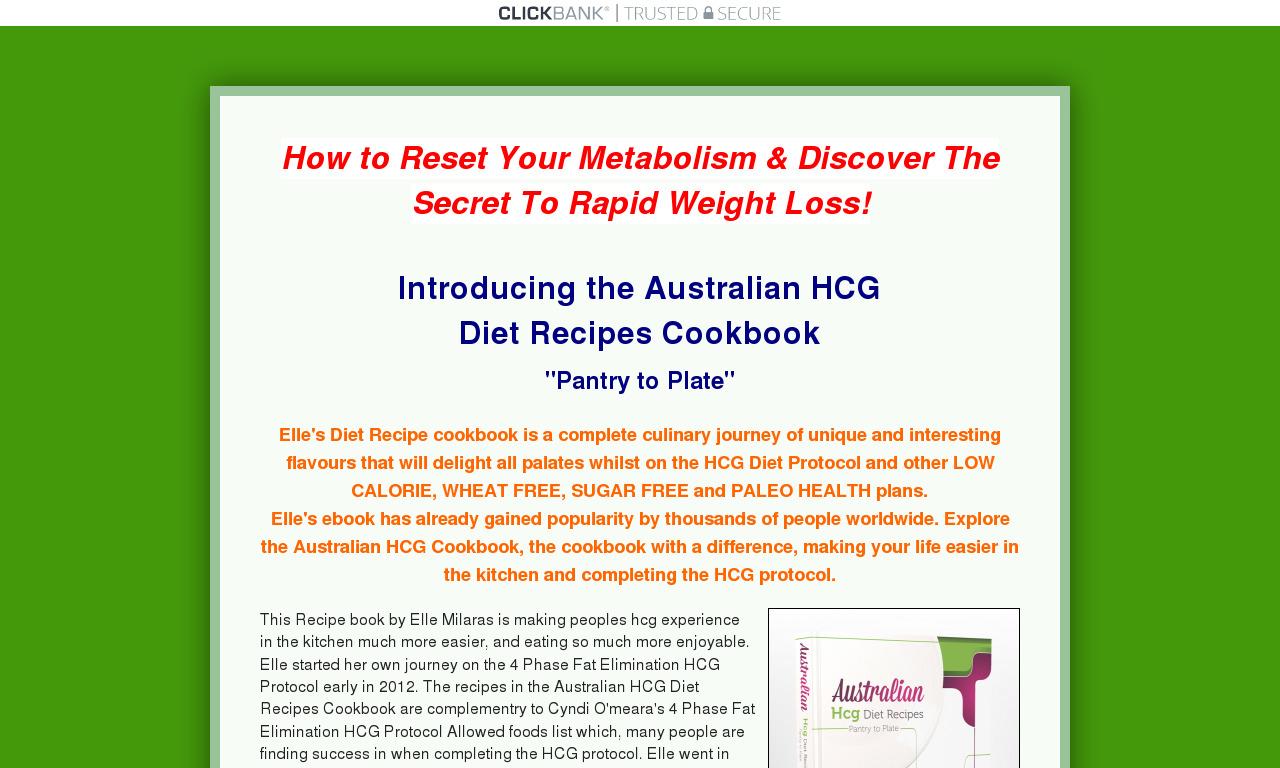 Australian HCG Diet Recipes Cookbook