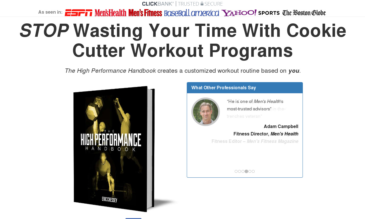 The High Performance Handbook product box