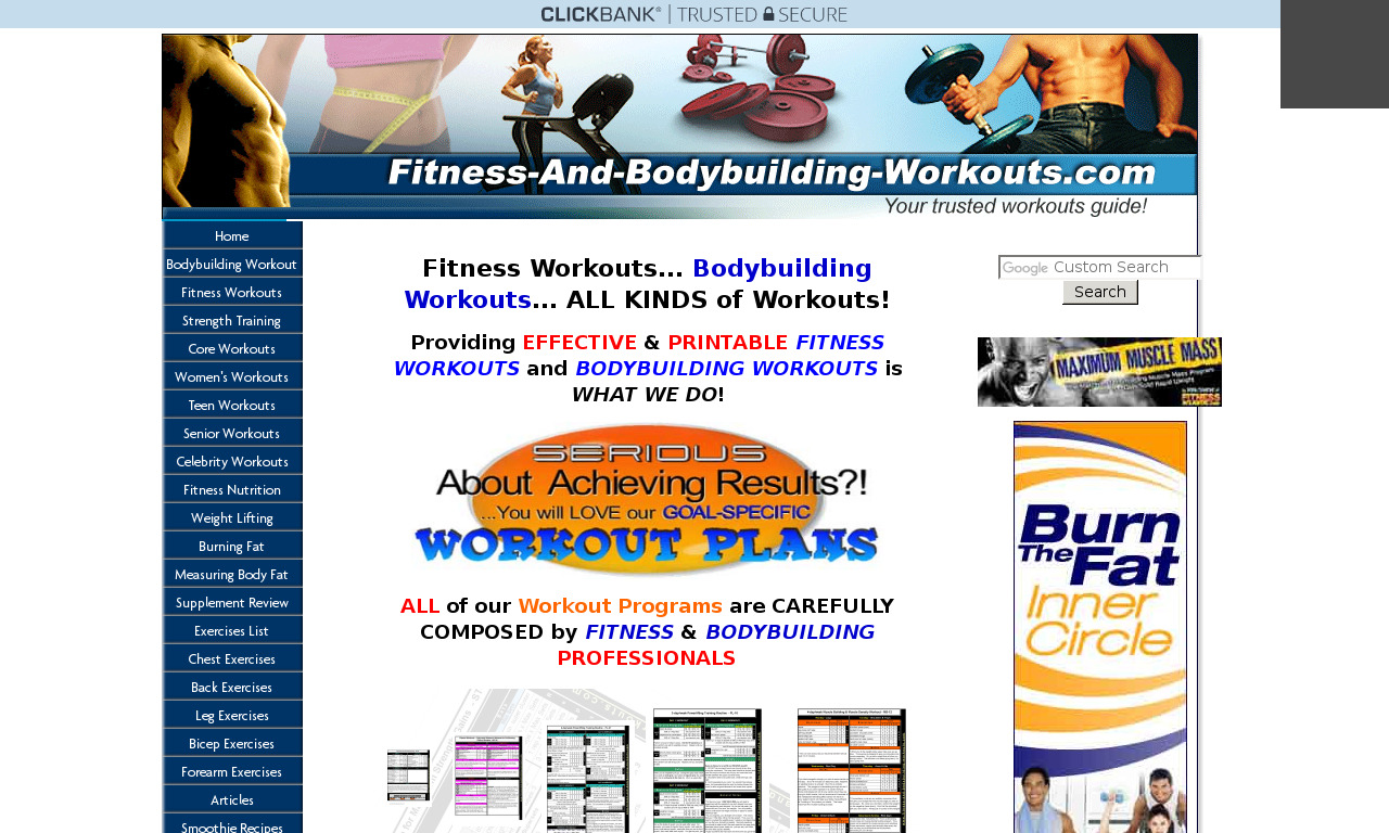 Fitness and Bodybuilding Workout Plans