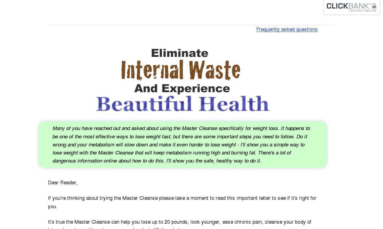 Master Cleanse Secrets 10 Day Diet