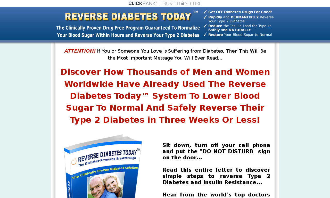 Reverse Type 2 Diabetes. The Original Bestseller! Up To 90% Comms!
